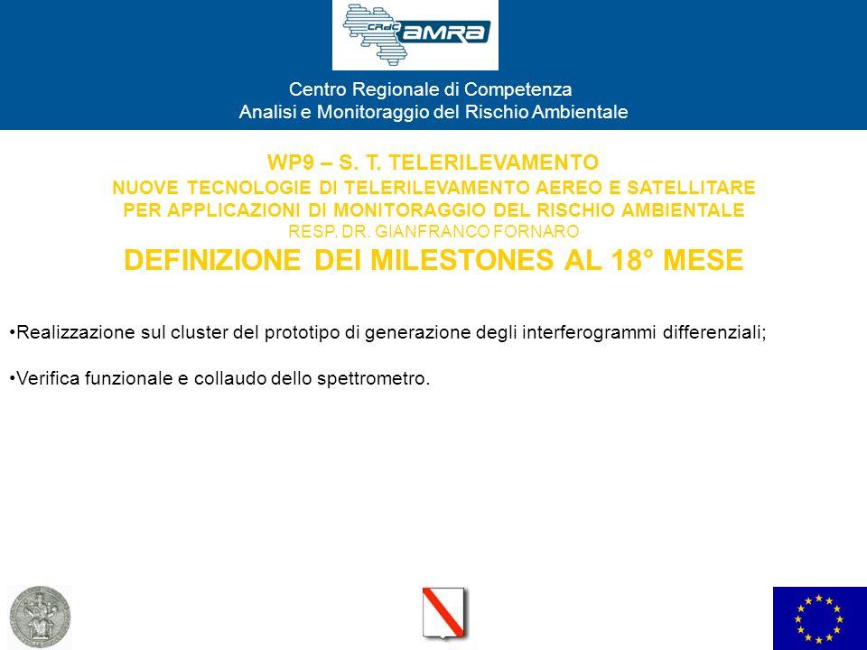 WP9 – S. T. TELERILEVAMENTO NUOVE TECNOLOGIE DI TELERILEVAMENTO AEREO E SATELLITARE PER APPLICAZIONI DI MONITORAGGIO DEL RISCHIO AMBIENTALE RESP. DR. GIANFRANCO FORNARO DEFINIZIONE DEI MILESTONES AL 18° MESE