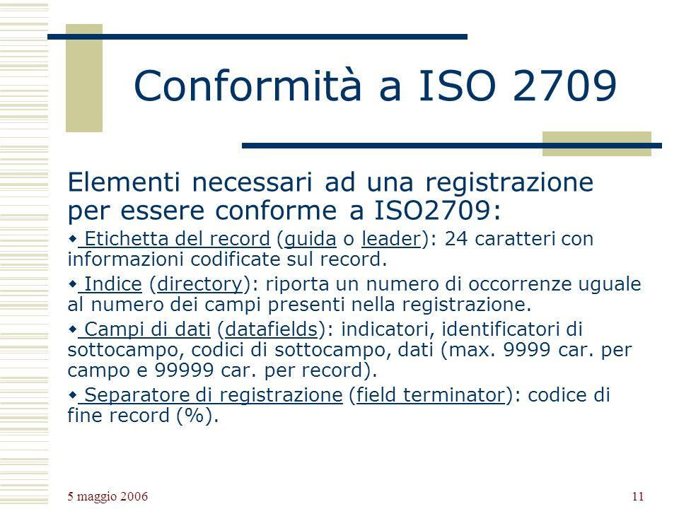 Conformità a ISO 2709 Elementi necessari ad una registrazione per essere conforme a ISO2709: