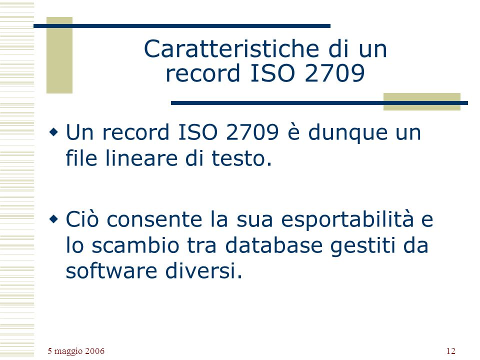 Caratteristiche di un record ISO 2709