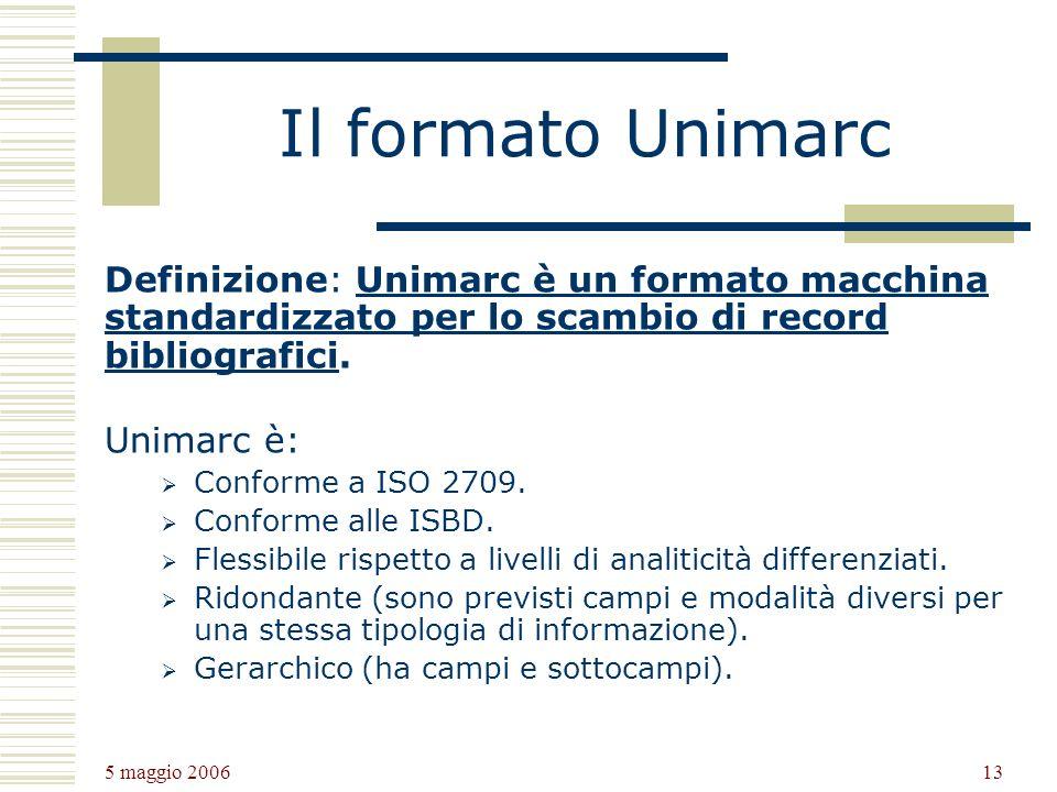 Il formato Unimarc Definizione: Unimarc è un formato macchina standardizzato per lo scambio di record bibliografici.
