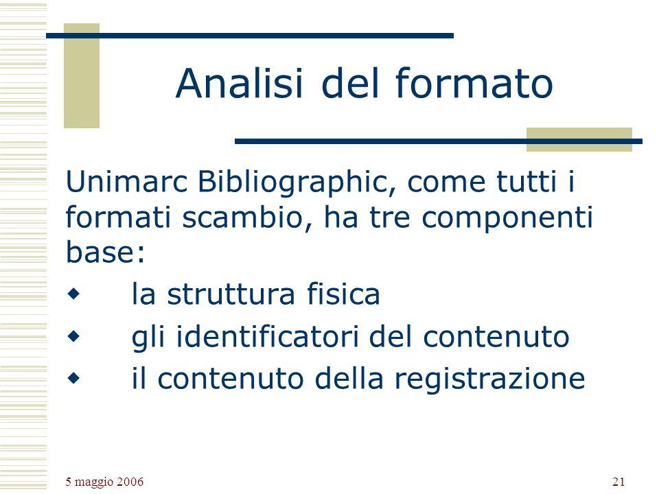 Analisi del formato Unimarc Bibliographic, come tutti i formati scambio, ha tre componenti base: la struttura fisica.