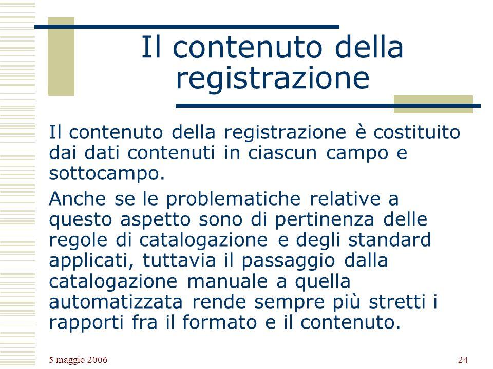 Il contenuto della registrazione