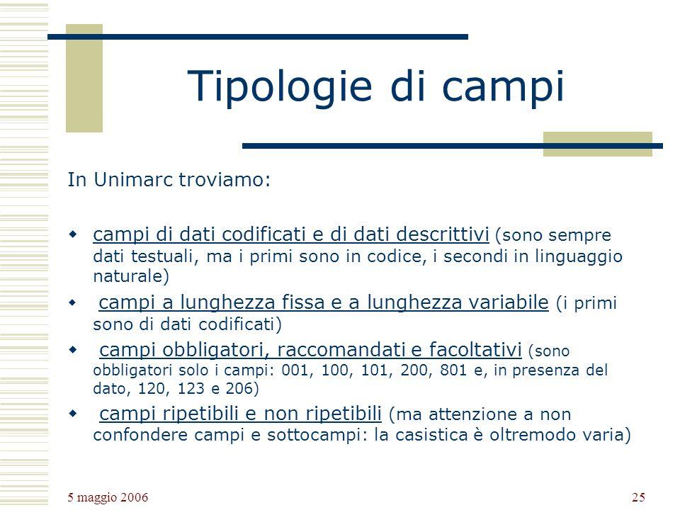 Tipologie di campi In Unimarc troviamo: