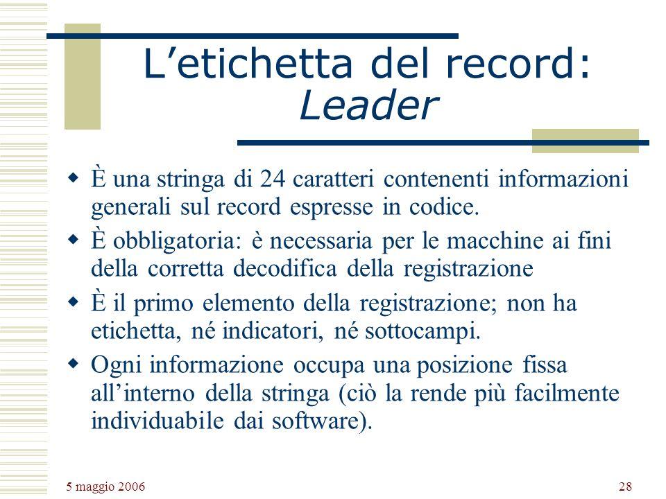 L'etichetta del record: Leader