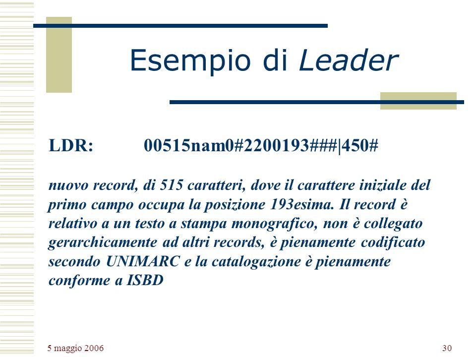 Esempio di Leader LDR: 00515nam0#2200193###|450#