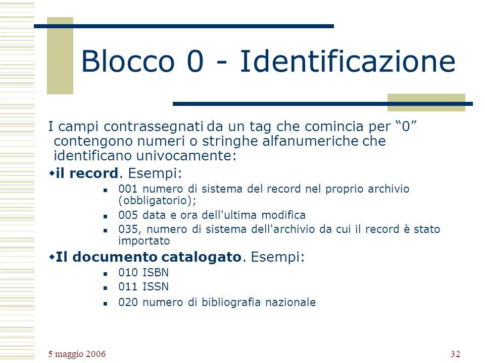 Blocco 0 - Identificazione
