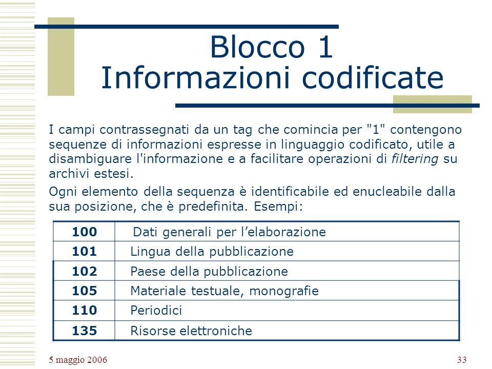 Blocco 1 Informazioni codificate