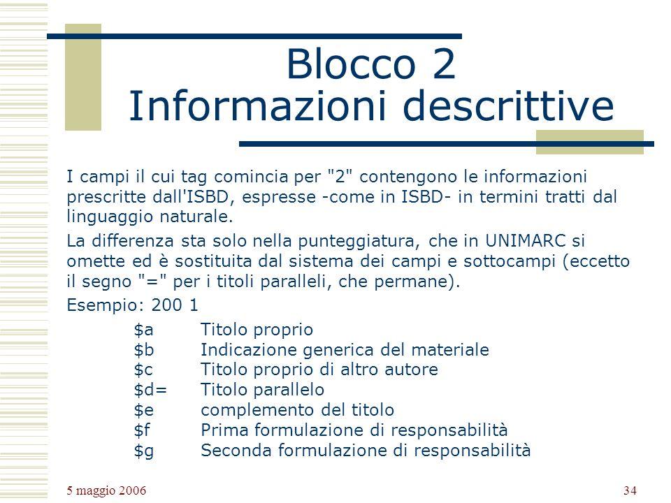 Blocco 2 Informazioni descrittive