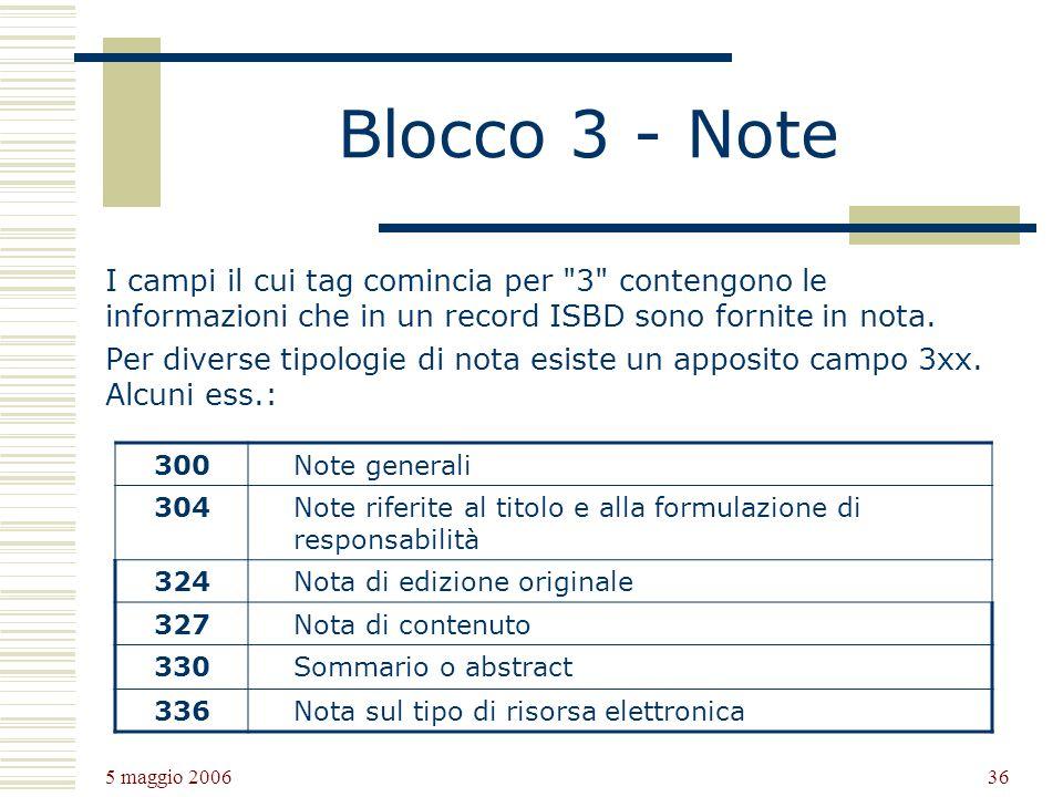 Blocco 3 - Note I campi il cui tag comincia per 3 contengono le informazioni che in un record ISBD sono fornite in nota.