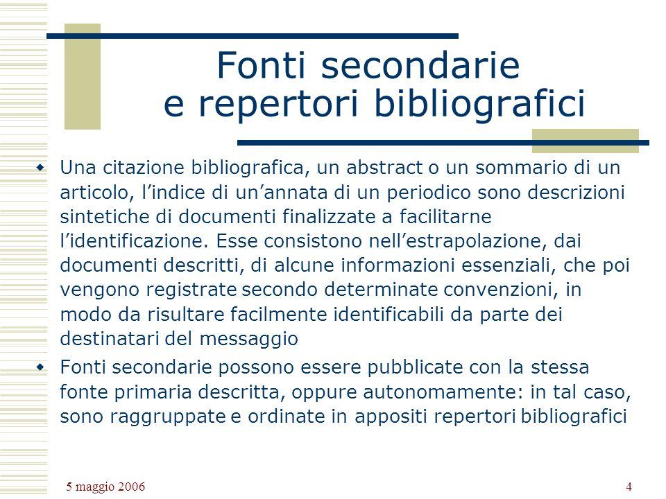 Fonti secondarie e repertori bibliografici