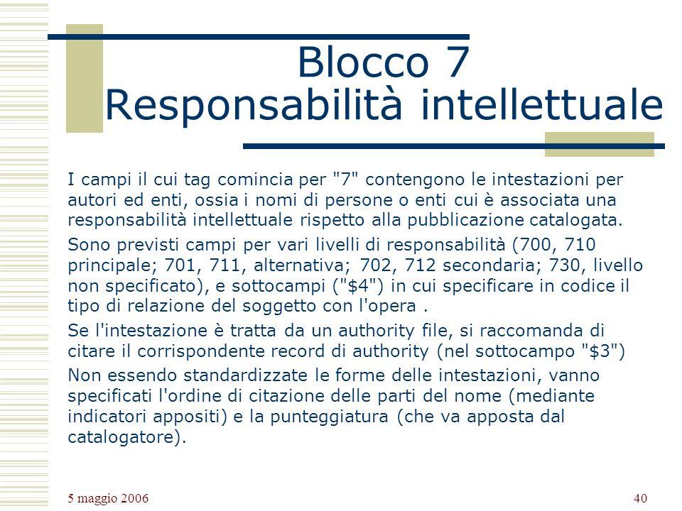 Blocco 7 Responsabilità intellettuale