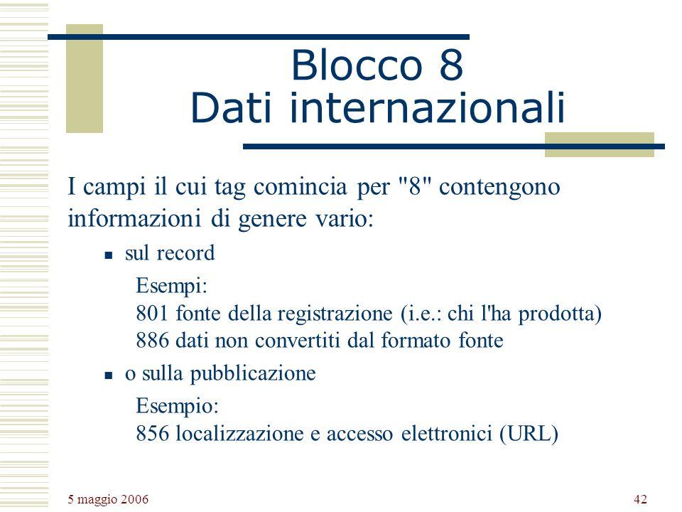 Blocco 8 Dati internazionali