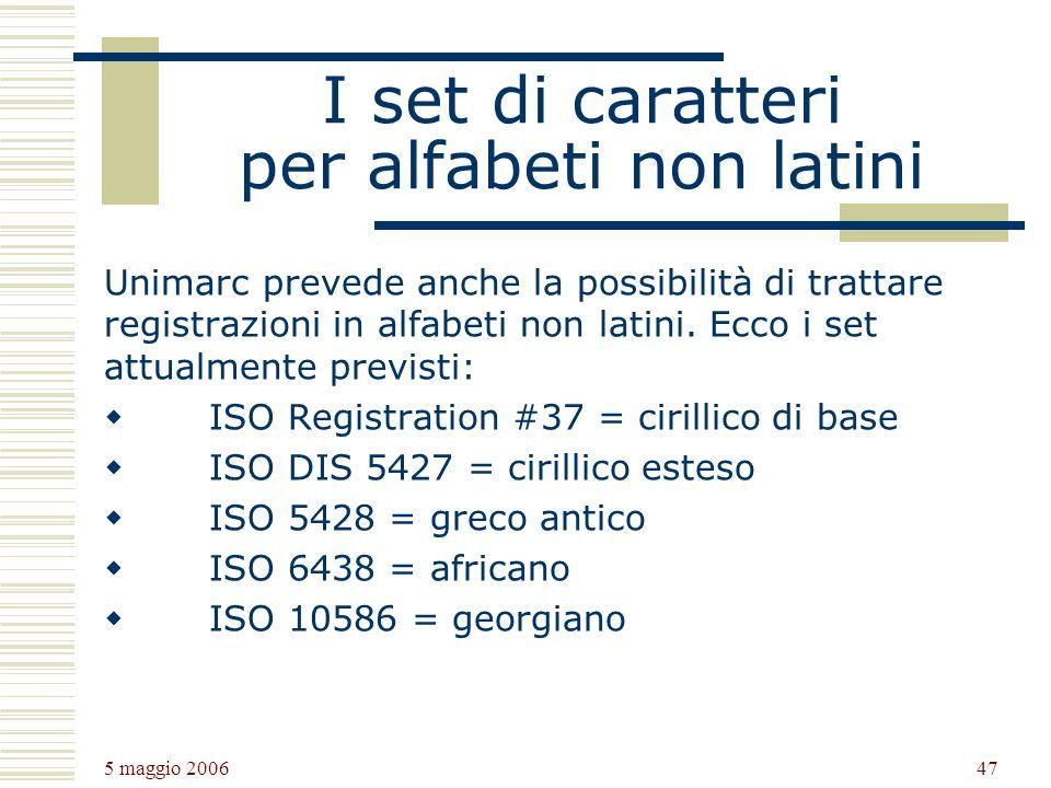 I set di caratteri per alfabeti non latini