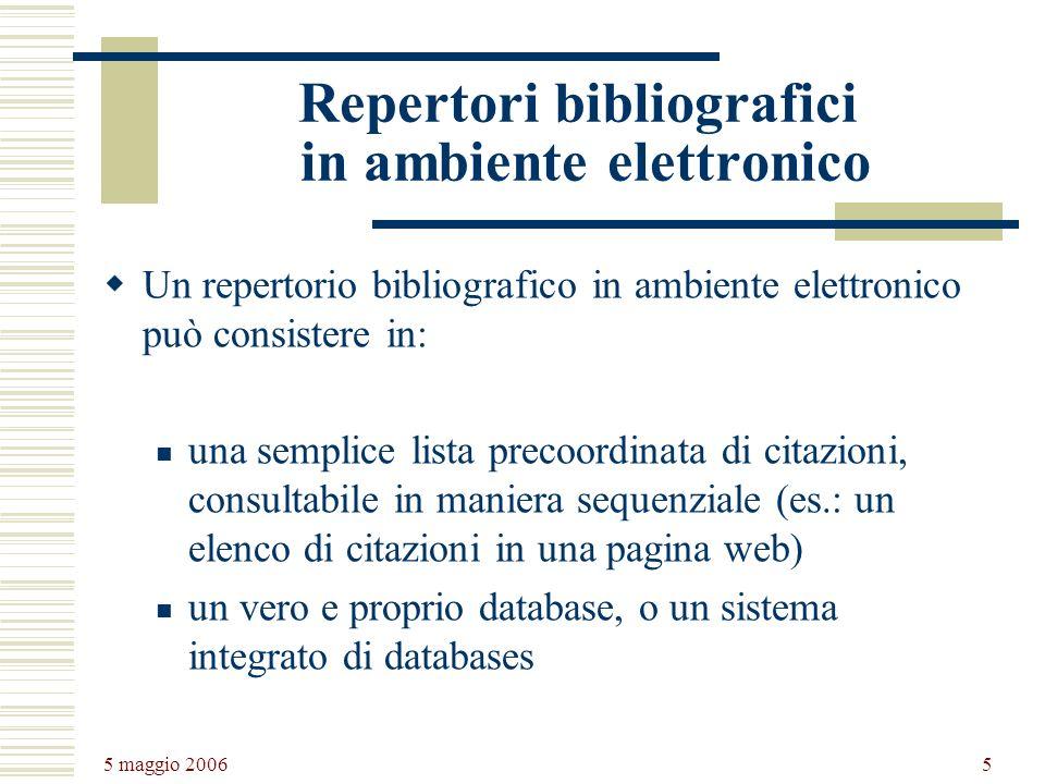 Repertori bibliografici in ambiente elettronico