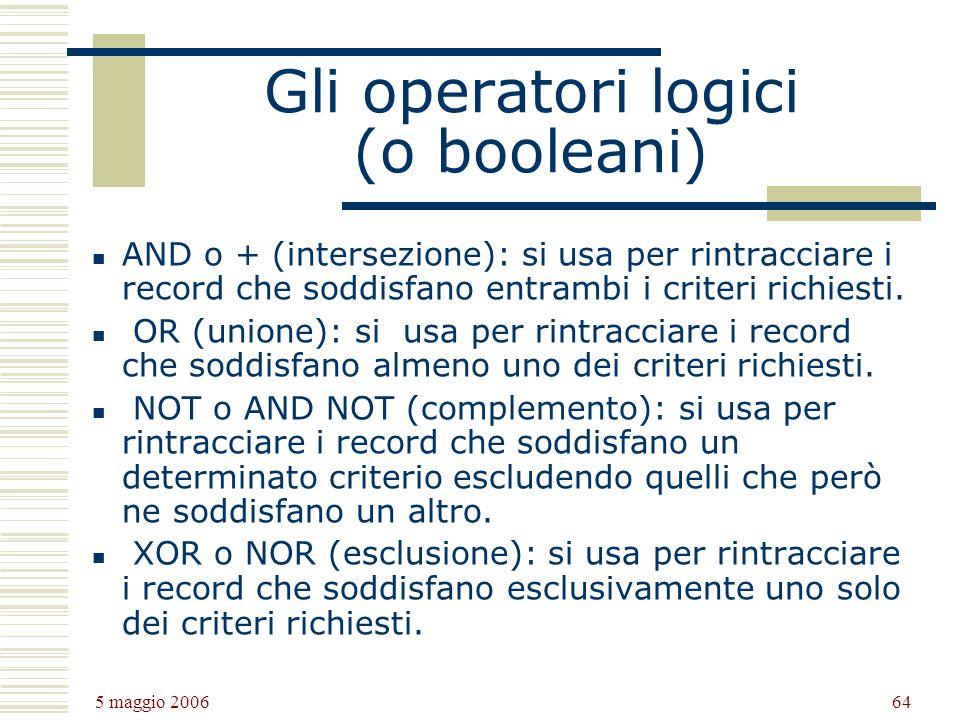 Gli operatori logici (o booleani)