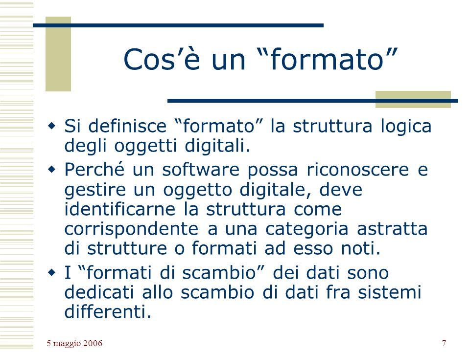 Cos'è un formato Si definisce formato la struttura logica degli oggetti digitali.