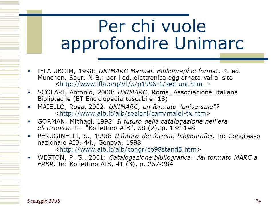 Per chi vuole approfondire Unimarc