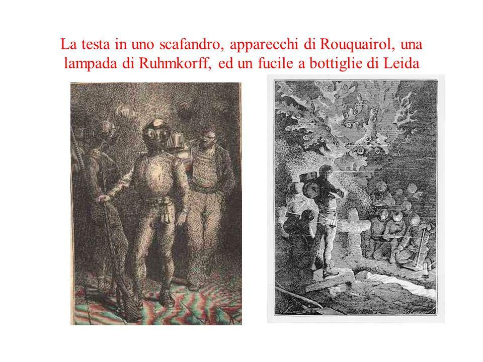 La testa in uno scafandro, apparecchi di Rouquairol, una lampada di Ruhmkorff, ed un fucile a bottiglie di Leida
