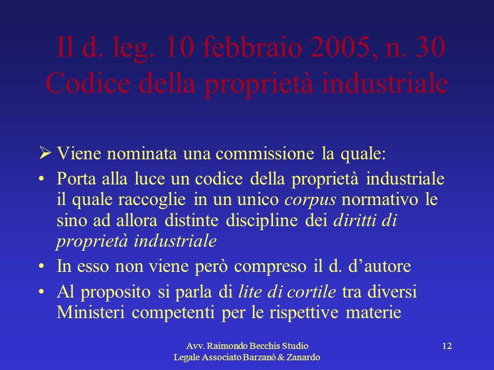 Il d. leg. 10 febbraio 2005, n. 30 Codice della proprietà industriale