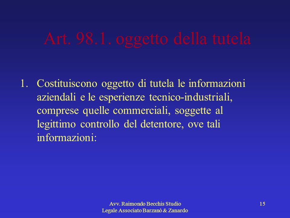 Art. 98.1. oggetto della tutela