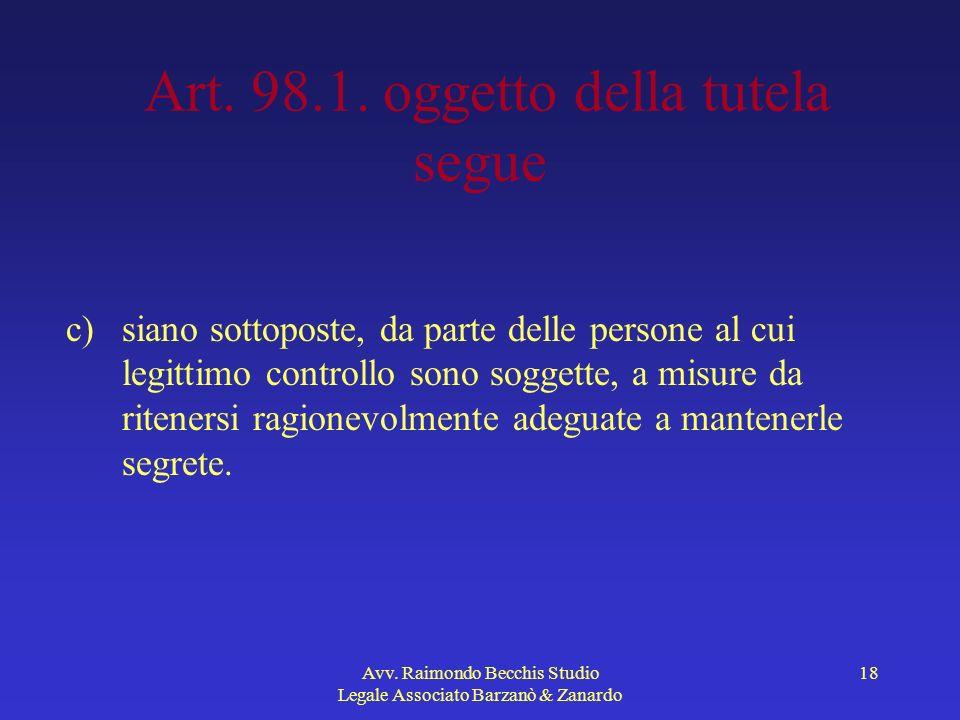 Art. 98.1. oggetto della tutela segue