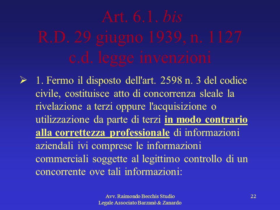 Art. 6.1. bis R.D. 29 giugno 1939, n. 1127 c.d. legge invenzioni