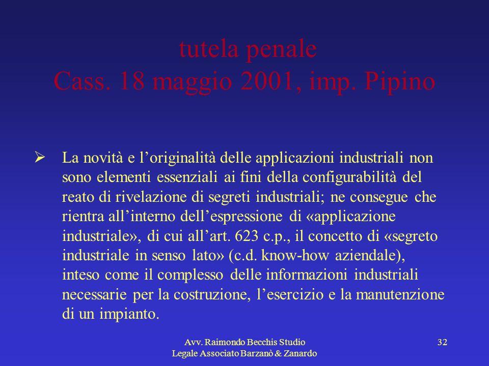 tutela penale Cass. 18 maggio 2001, imp. Pipino