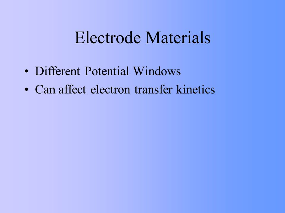Electrode Materials Different Potential Windows