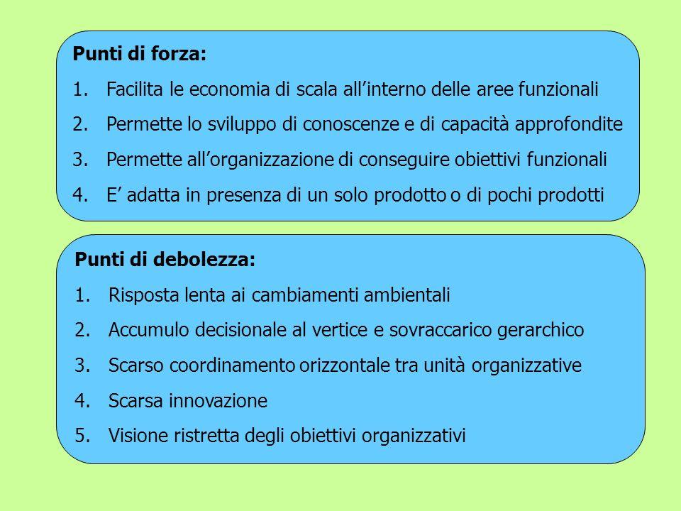 Punti di forza: Facilita le economia di scala all'interno delle aree funzionali. Permette lo sviluppo di conoscenze e di capacità approfondite.