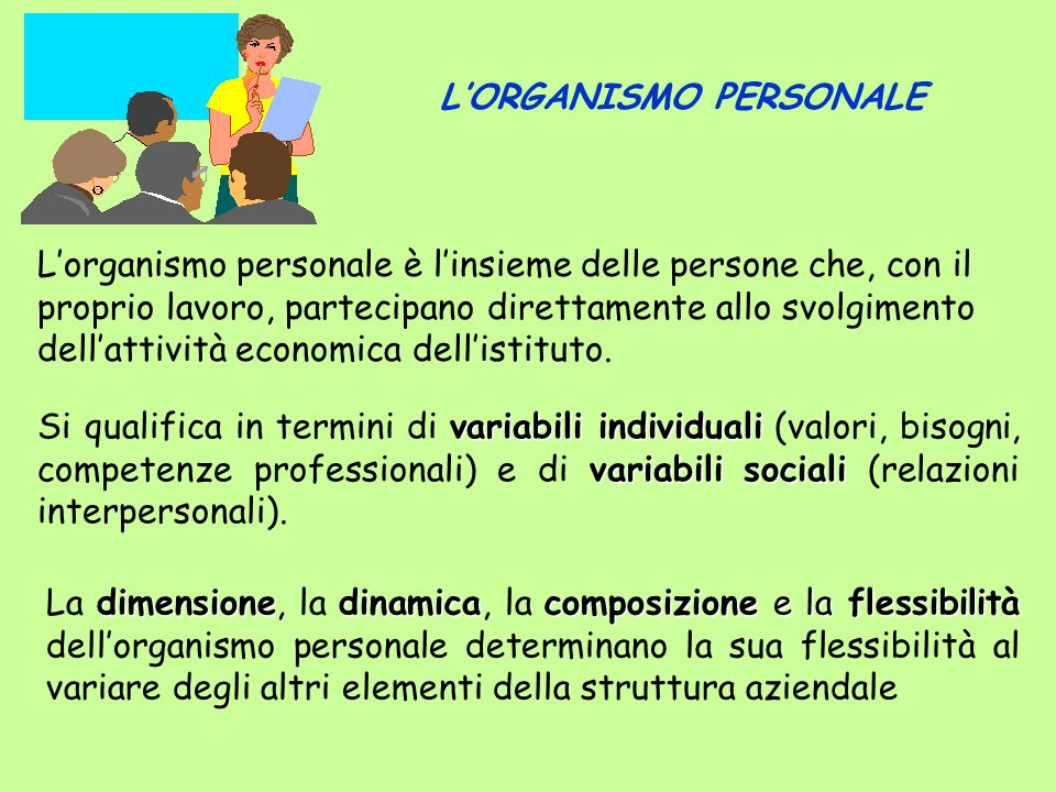 L'ORGANISMO PERSONALE