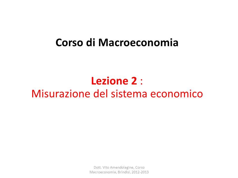 Corso di Macroeconomia Lezione 2 : Misurazione del sistema economico