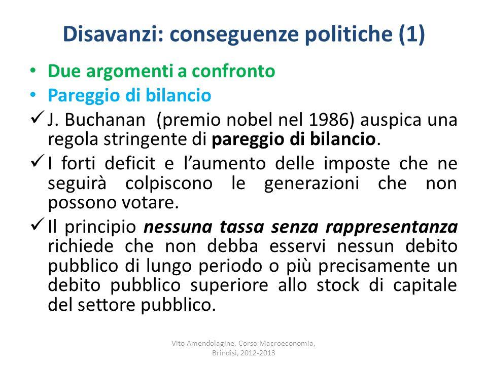 Disavanzi: conseguenze politiche (1)
