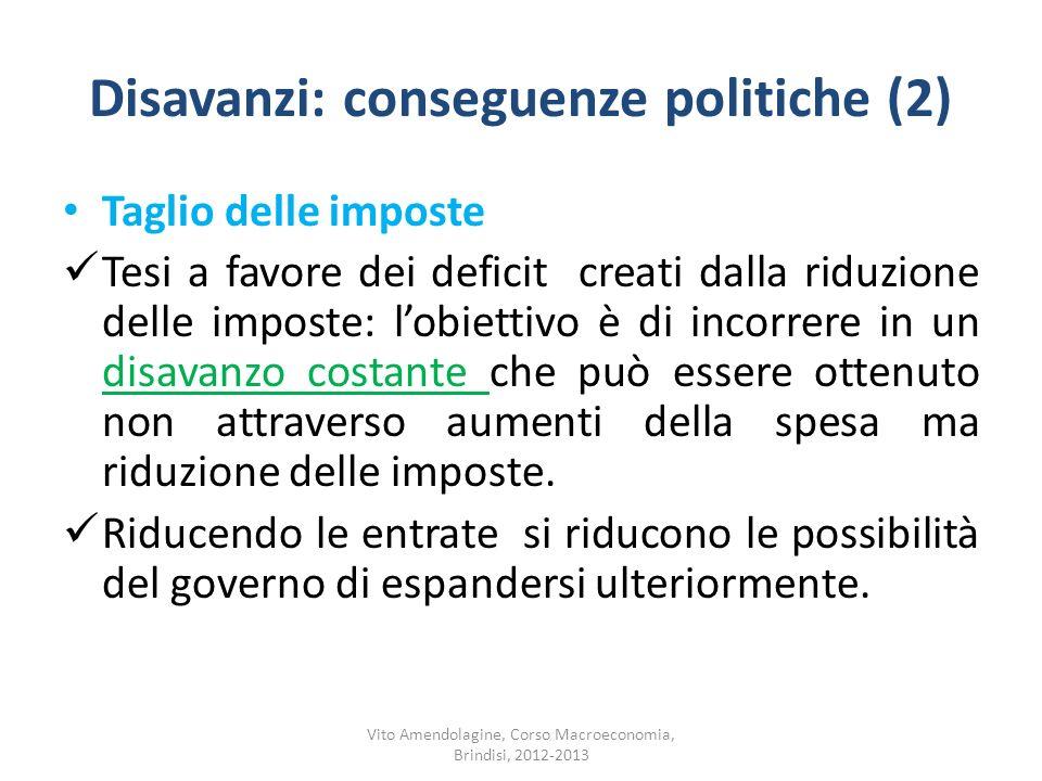 Disavanzi: conseguenze politiche (2)