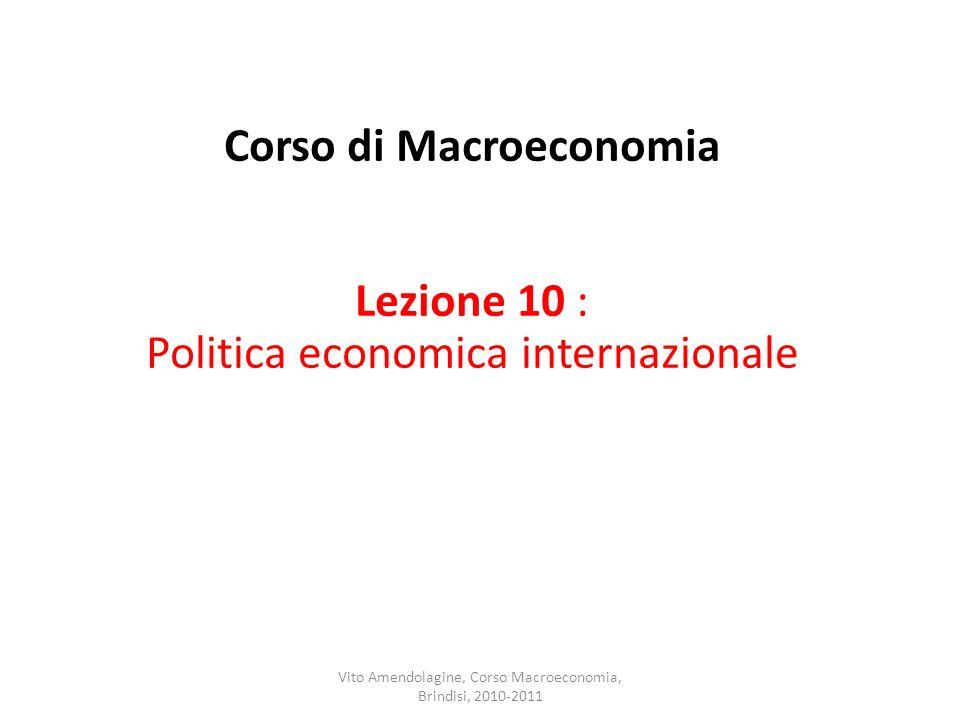 Corso di Macroeconomia Lezione 10 : Politica economica internazionale