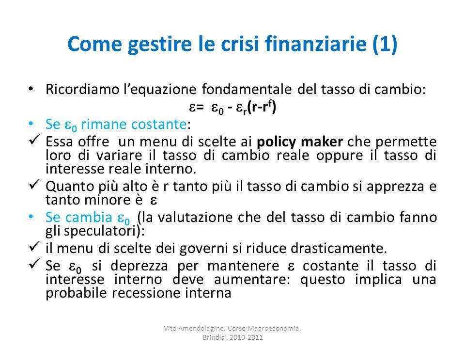 Come gestire le crisi finanziarie (1)