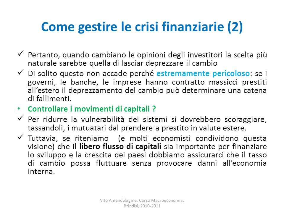 Come gestire le crisi finanziarie (2)