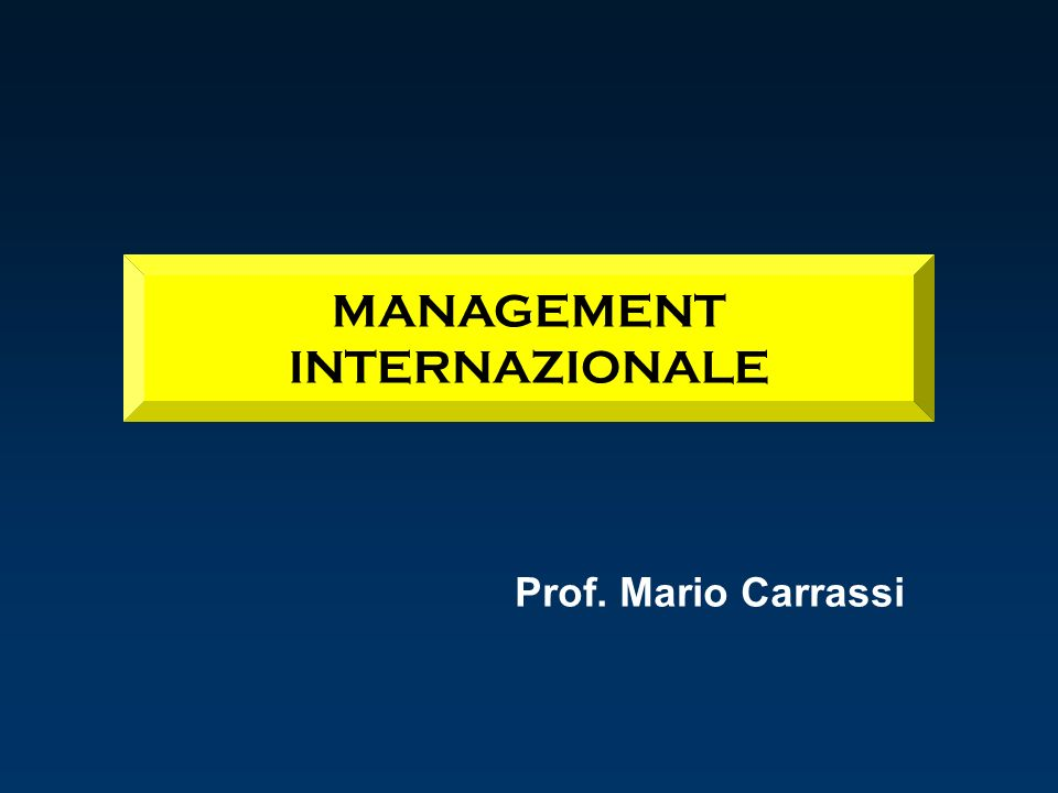 MANAGEMENT INTERNAZIONALE
