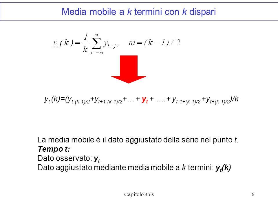 Media mobile a k termini con k dispari