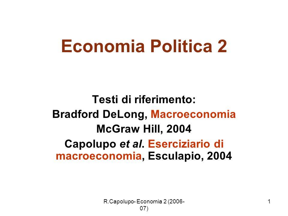 Economia Politica 2 Testi di riferimento: