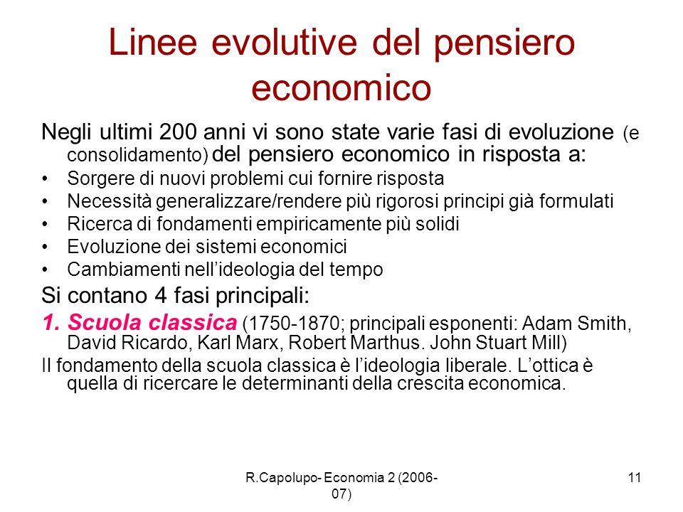 Linee evolutive del pensiero economico