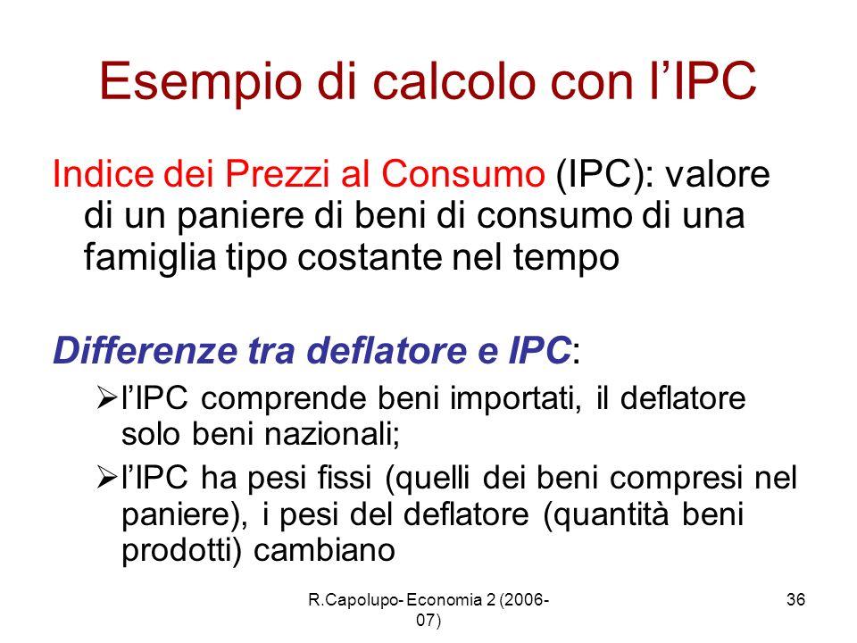 Esempio di calcolo con l'IPC