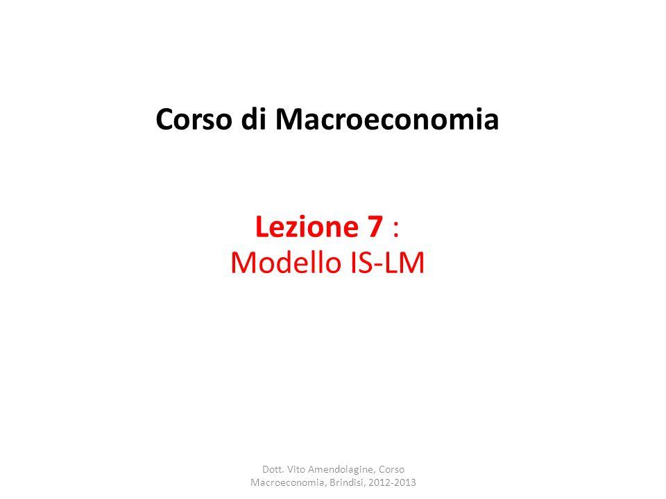 Corso di Macroeconomia Lezione 7 : Modello IS-LM
