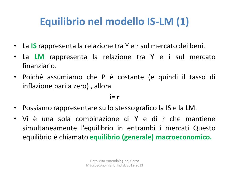 Equilibrio nel modello IS-LM (1)