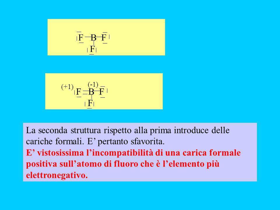 F B F F. F B F. F. (-1) (+1) La seconda struttura rispetto alla prima introduce delle cariche formali. E' pertanto sfavorita.