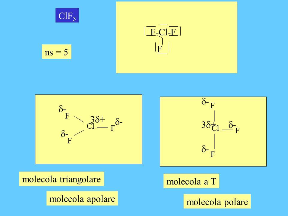 F-Cl-F F ClF3 ns = 5 d- d- 3d+ d- 3d+ d- d- d- molecola triangolare