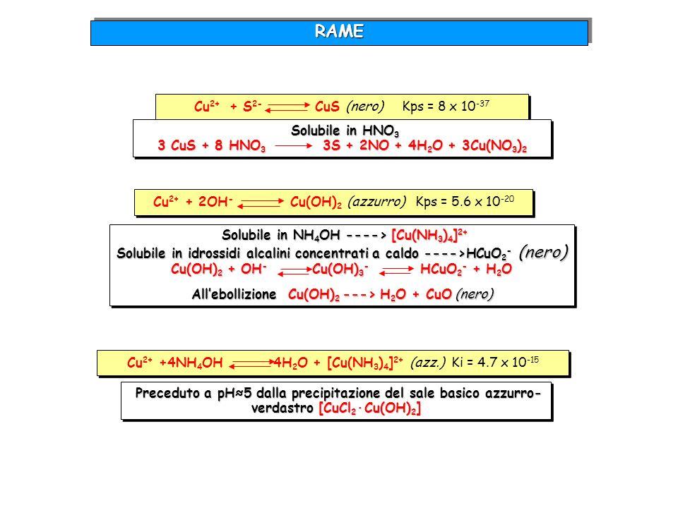 RAME Cu2+ + S2- CuS (nero) Kps = 8 x 10-37 Solubile in HNO3