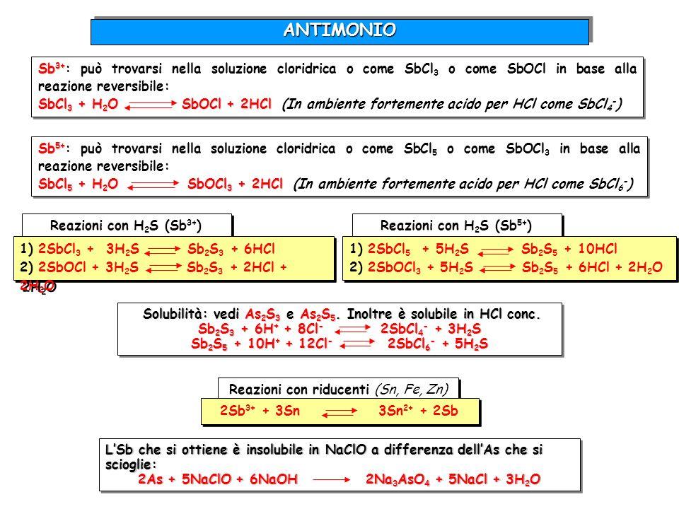 ANTIMONIOSb3+: può trovarsi nella soluzione cloridrica o come SbCl3 o come SbOCl in base alla reazione reversibile: