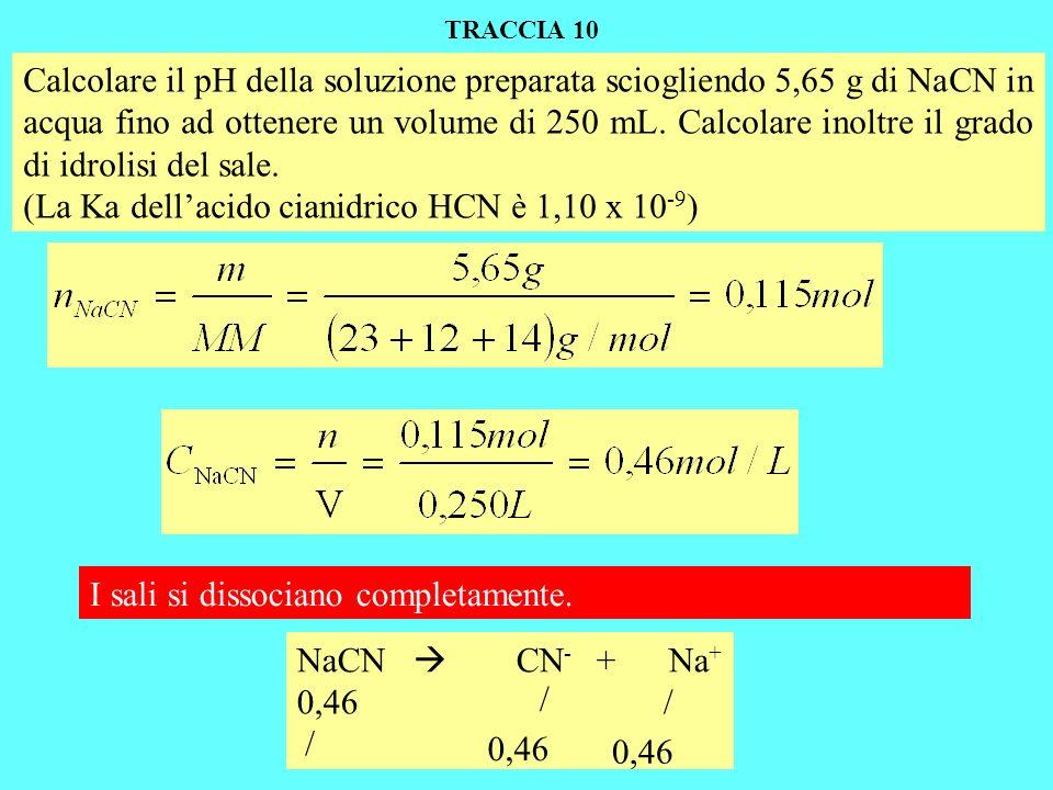 (La Ka dell'acido cianidrico HCN è 1,10 x 10-9)