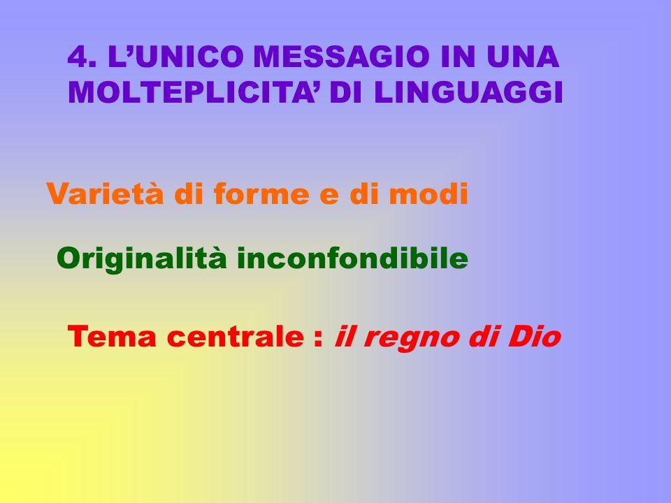 4. L'UNICO MESSAGIO IN UNA MOLTEPLICITA' DI LINGUAGGI