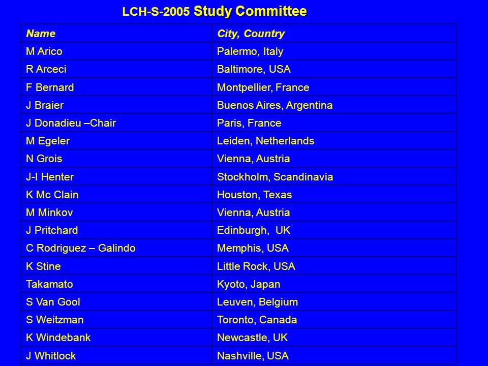 LCH-S-2005 Study Committee